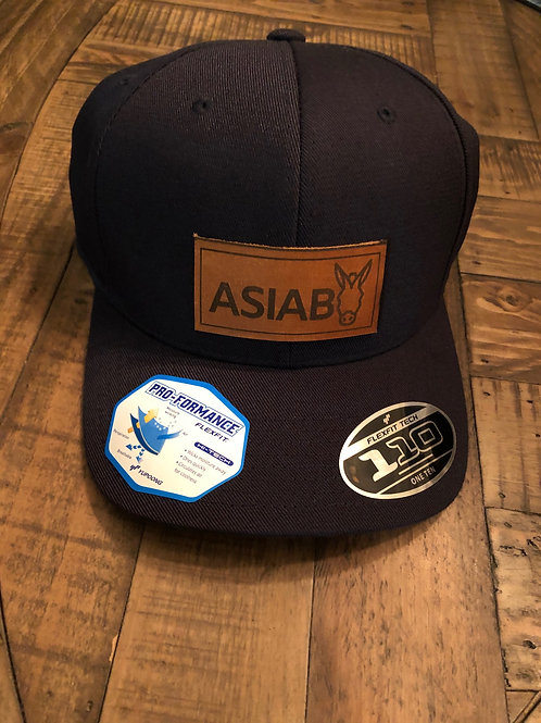 dark blue hat with leather ASIAB patch