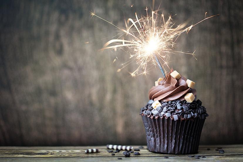 Chocolate cupcake with a sparkler.jpg