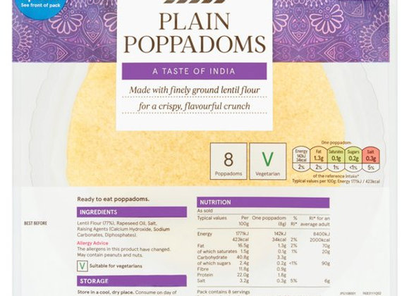 Tesco Plain Poppadums 8Pack 64G