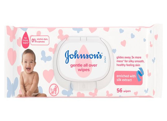 Johnsons Baby Gentle All Over Wipes 56 pieces