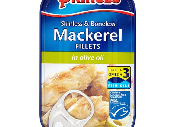 Princes Skinless Boneless Mackerel Fillets Olive Oil 125G