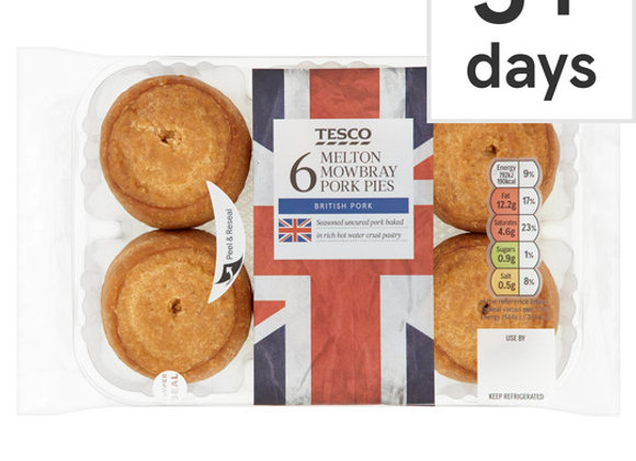 Tesco 6 Mini Melton Mowbray Pork Pies 300G