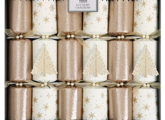 Luxury Gold Glitter Crackers 6 Pack