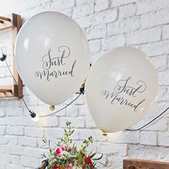 Boho Wedding Just Married Balloons 12 Latex