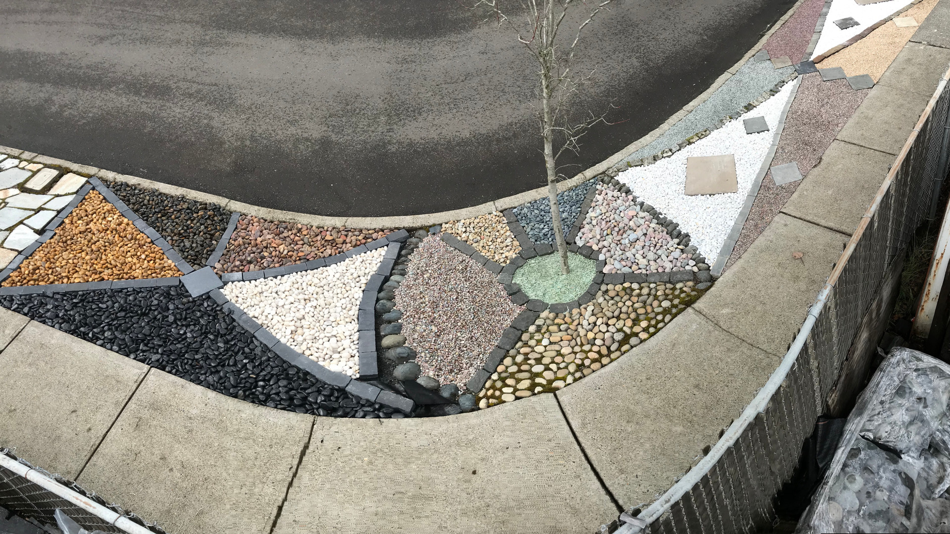 Vibrant color selection of crushed and round landscaping rock.