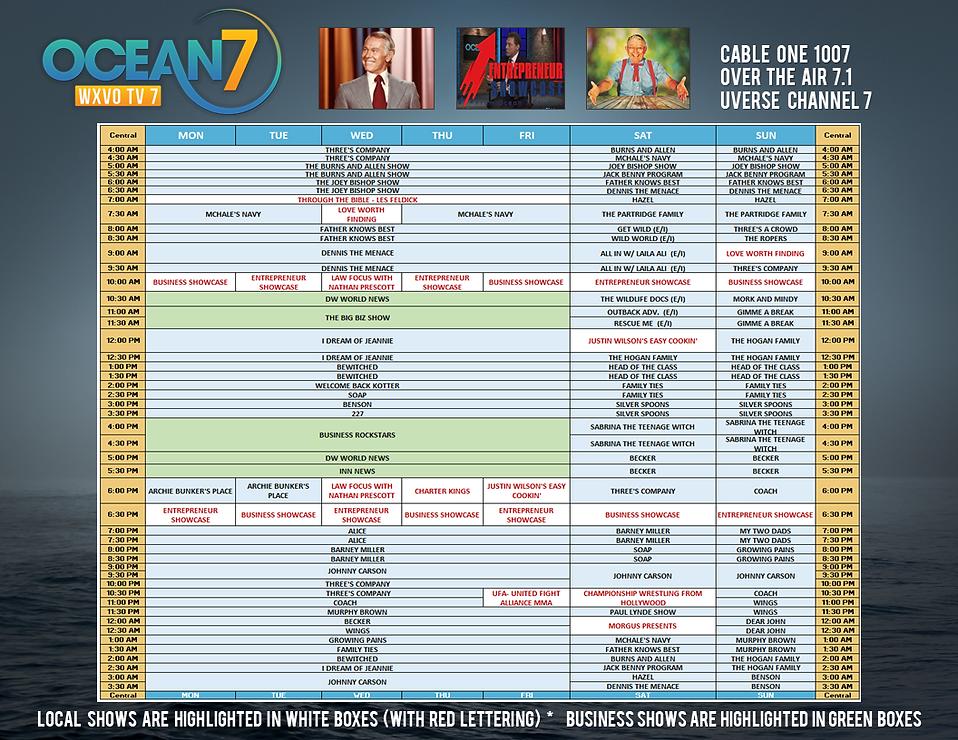 Ocean 7 TV program guide for APRIL 2019.