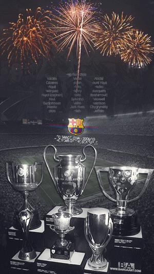 Barcelona six trophies sextuple year wallpaper