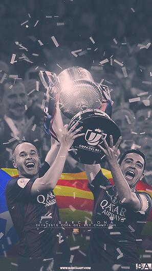 Iniest and Xavi lifting Copa Del Rey trophy wallpaper