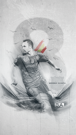 Iniesta camp nou fading white wallpaper
