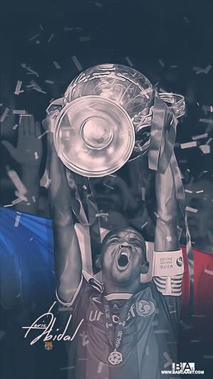 Eric Abidal lifting champions league trophy wallpaper