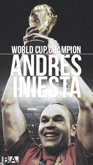 Iniesta lifting World Cup wallpaper