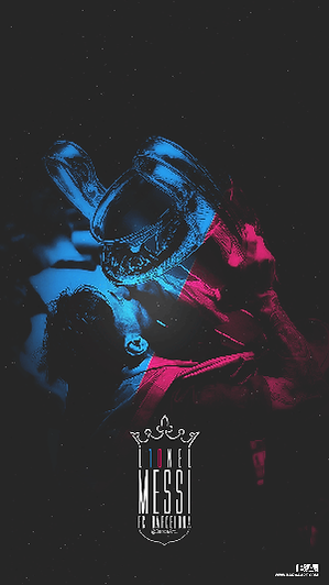 Messi blue and red champions league trophy wallpaper