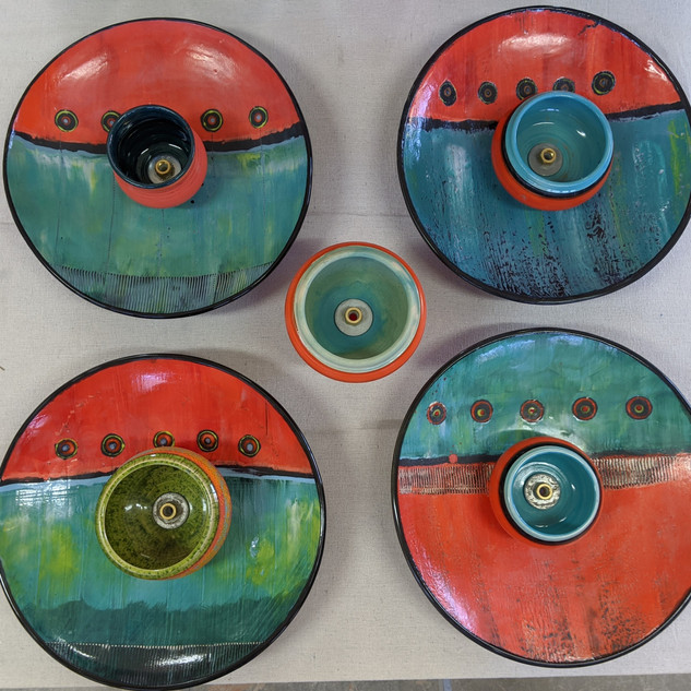 close up of atomic fountain platters
