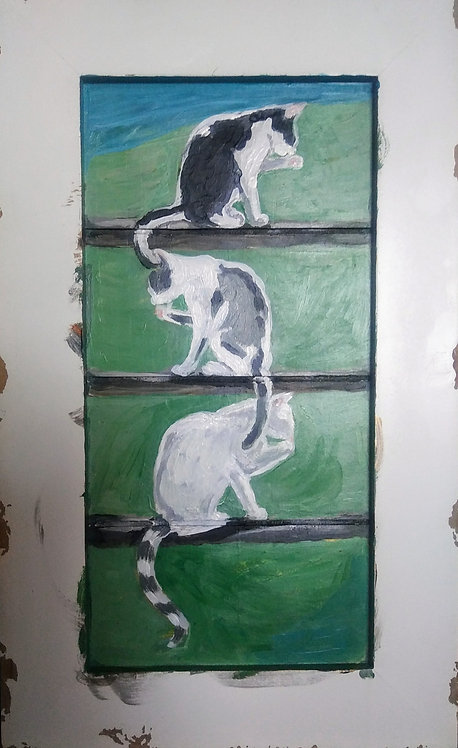 Three Cats on a Fence