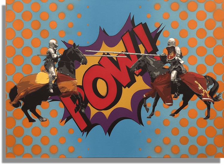 Pow! Johnman Spraycan Pop Art Knights Jousting on Horses Canvas Lichtenstein