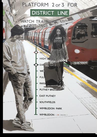 Johnman Boy Meets Girl Spray paint and Ink on Genuine London Underground Enamel Sign Spraycan Giclee Print