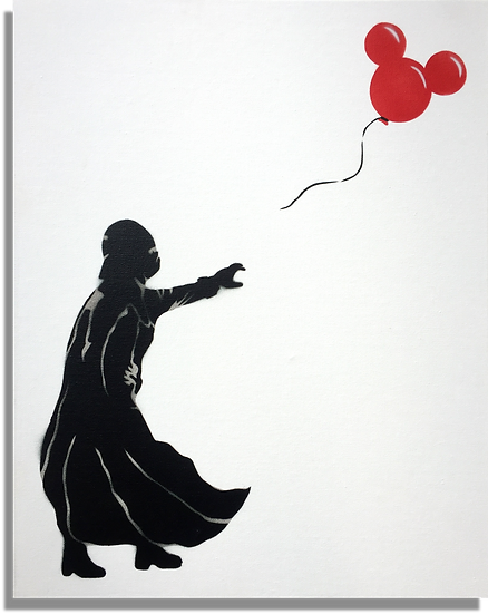 Johnman Vader with Balloon Artwork Spraycan Spray paint on Canvas