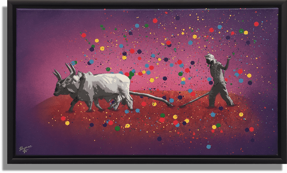 Johnman Spray Paint Graffiti Canvas The Dying Light Farm Ploughing Cows Spraycan