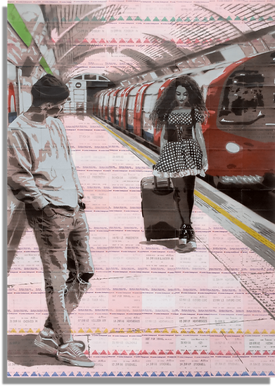 Johnman Train Ticket Art Boy Meets Girl Spraycan and Acrylic Ink on London Underground Tickets Giclee Print