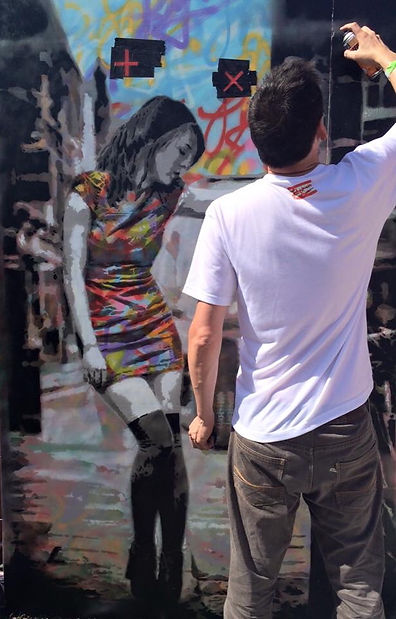 Johnman painting the Omar Shaker Piece at Upfest 2015