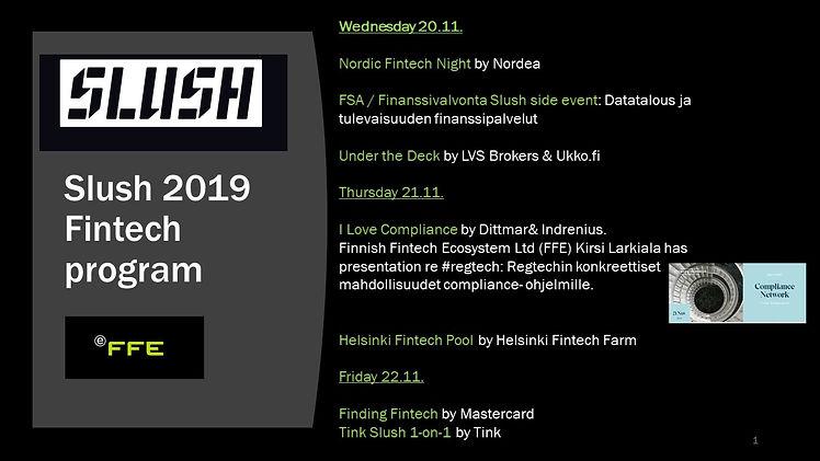 Slush Fintech activities and FFE 2019.jp