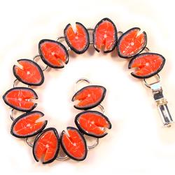Salmon Steak Silver Bracelet
