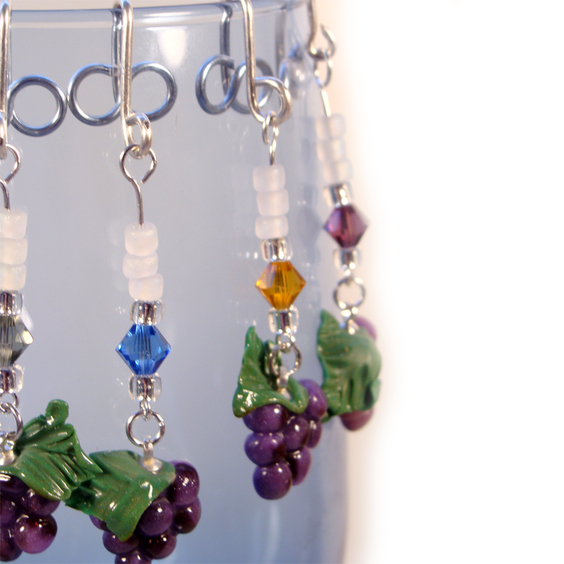 Grape Wine glass charms