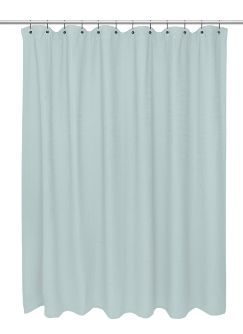 Extra Long Size 100% Cotton Waffle Weave Shower Curtain, spa blue ...