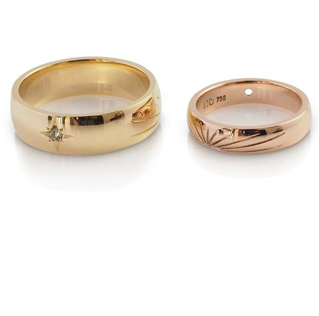 His and hers... matching wedding rings that made their way to Hawaii earlier in their year