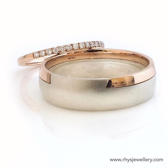 Wedding ring set for Brett and Tori. 18ct Rose Gold and Diamonds and a hefty Sterling silver and Ros