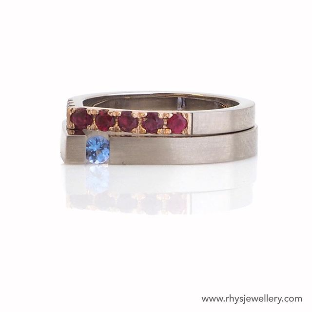 Small details. Added some rubies and diamonds from an old ring to this pair for Jen. Notice the top