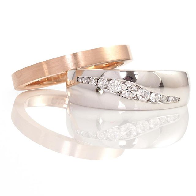 What makes a matching wedding ring_ This rose gold band is different to the engagement ring in prett