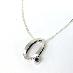 """Instagram - Little """"a"""" pendant with #amethyst in #silver for Maggie's niece. Blackened inside with p"""