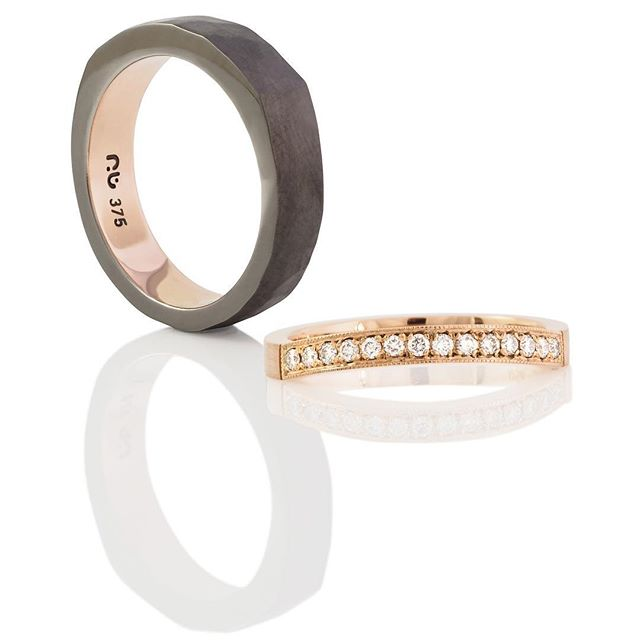 Black, Bold, Gold... blackened white gold wedding ring with rose gold inside
