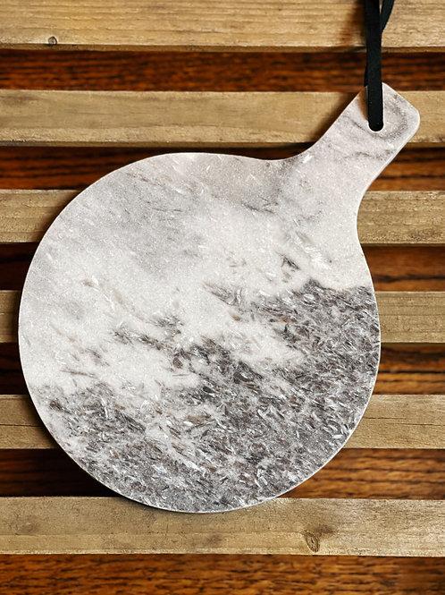 Elegance: Gray Round Marble Cheeseboard