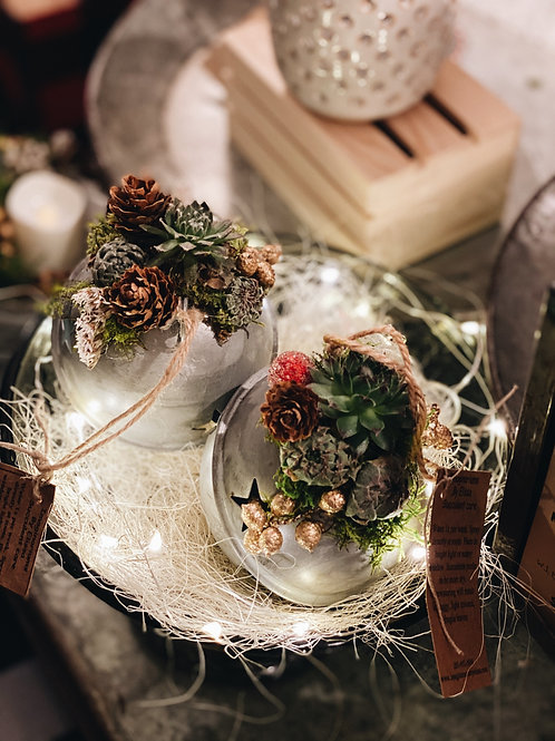 Vintage Jumbo Jingle Bell with succulents and preserved florals
