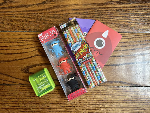 Comic Attack Pencil and Eraser Kit