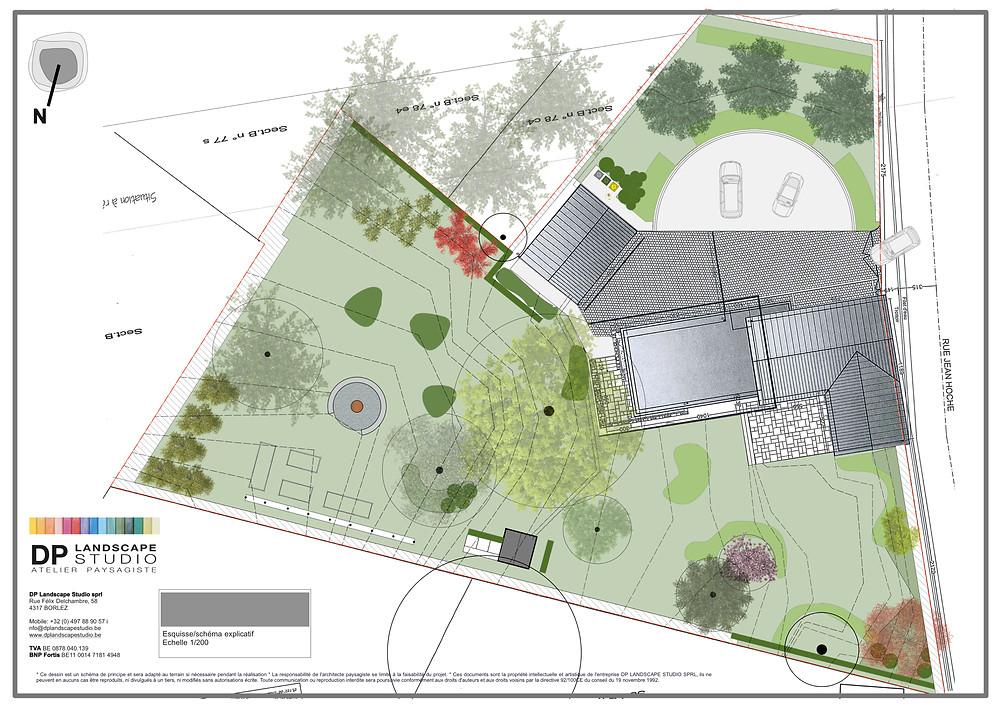 plan de jardin, architecte paysagiste, jardinier, faimes, huy et waremme, francois piette, DP Landscape studio, aménagements extérieurs