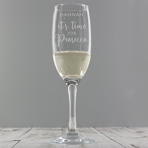 'It's time for Prosecco' Personalised Glass Flute