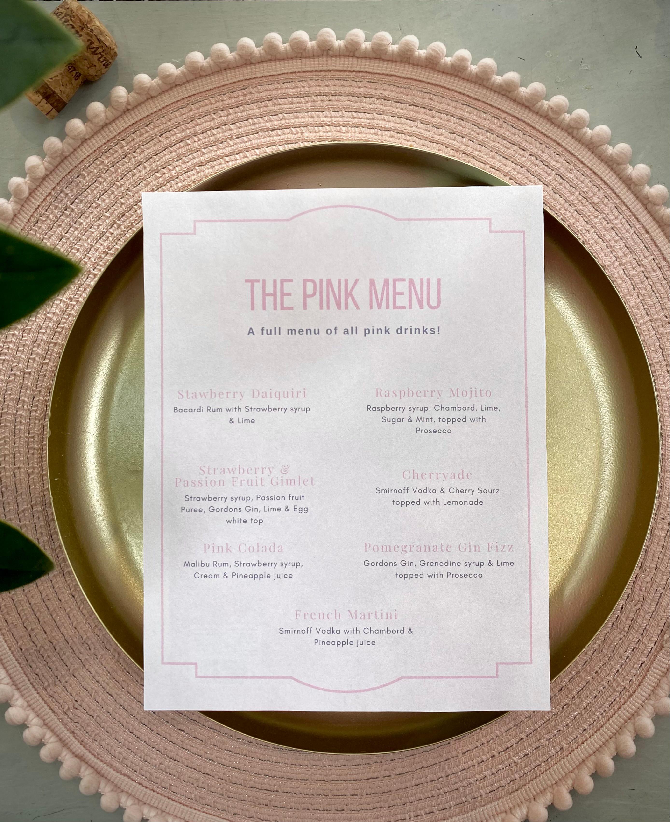 The Pink Menu