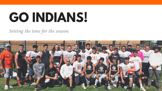 Go Indians! Setting the tone for the season. | Image of football players at the ISU camp.