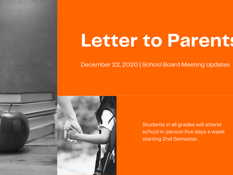 Letter to Parents | Dec. 22