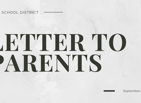 Letter to Parents | Sep. 9