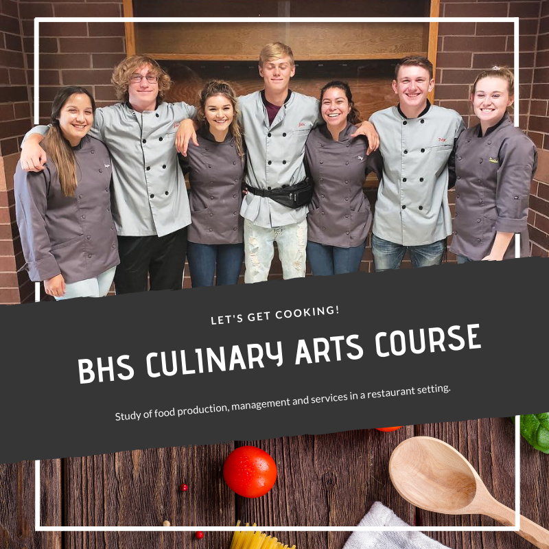 BHS Students in Chef Attire for new culinary arts course.
