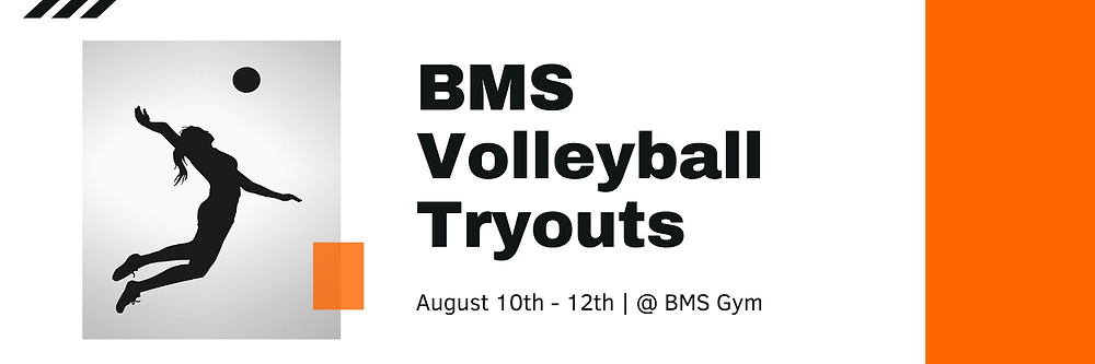 BMS Volleyball Tryouts Banner Image