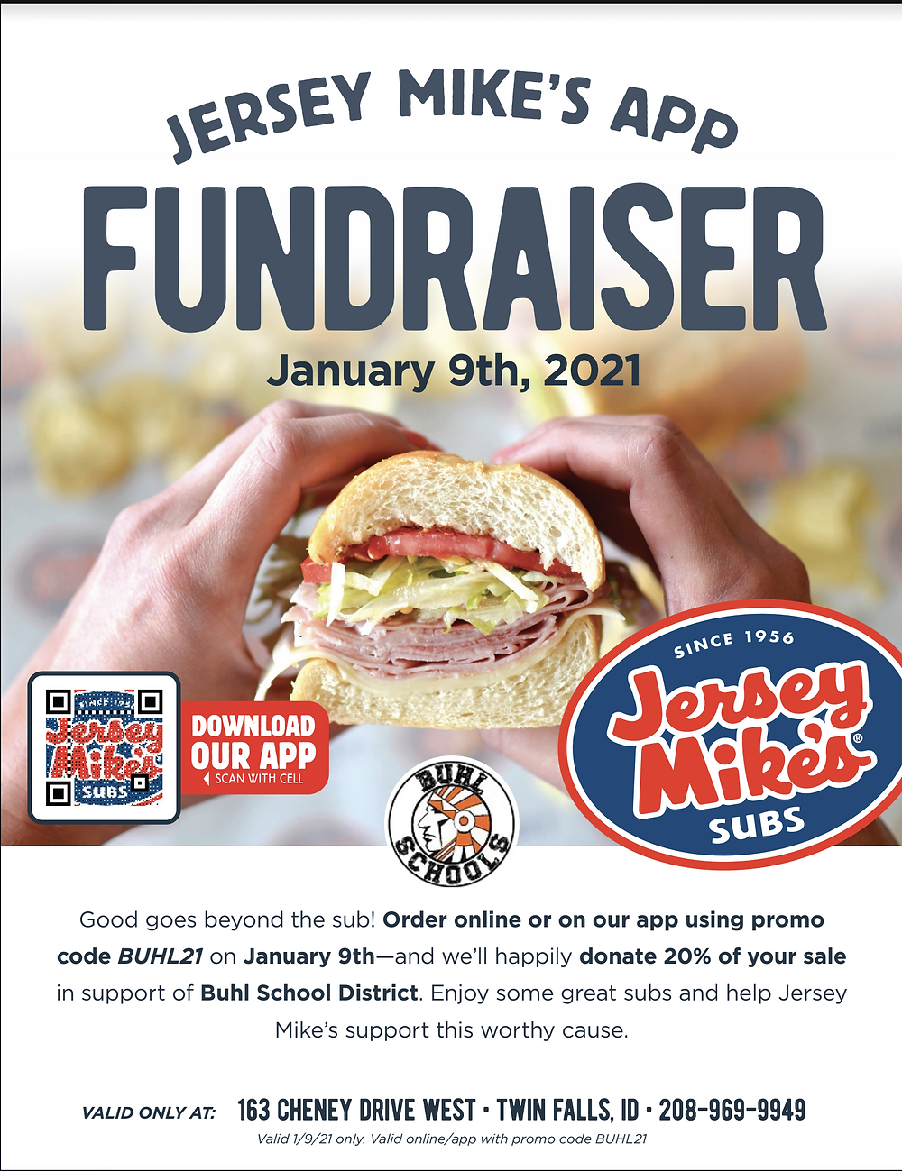 Jersey Mike's App Fundraiser Flyer