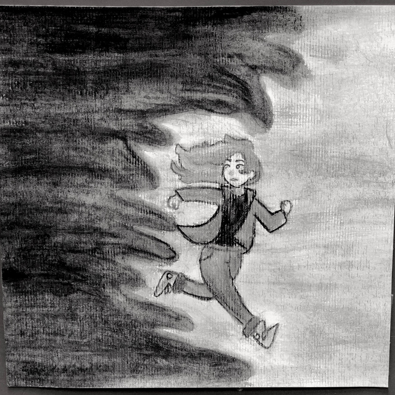 """Artist: Hailey Black, 8th Grade Inspired by a Poem: """"Please don't let it get to me  I don't want to give up that easily But the darkness keeps chasing me"""" The Darkness Keeps Chasing me by Grace Vanderwaal"""