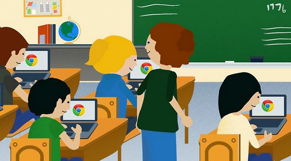 Clip art classroom with students using Chromebooks