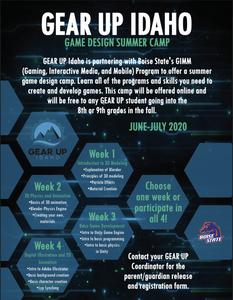 GEAR UP IDAHO | Game Design Online Summer Camp | June-July 2020