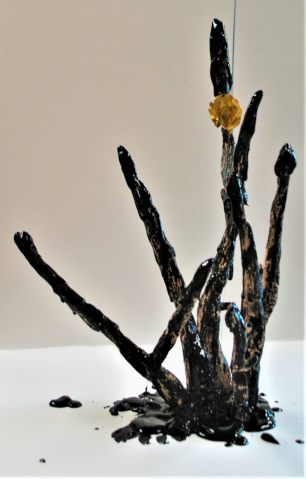 sculpture made with fired clay, dry and wet (dripping) acrylic paint.